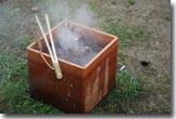 Boiling water in bentwood box