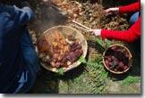 Pit cooking root veggies